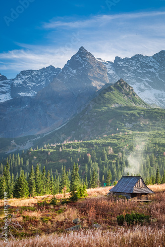 Small hut in the Tatra Mountain valley in Poland