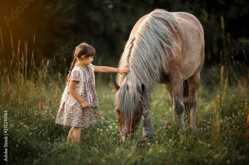 Obraz na plátně  Little girl with horse