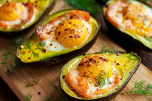 Baked Eggs In Avocado With Smo...