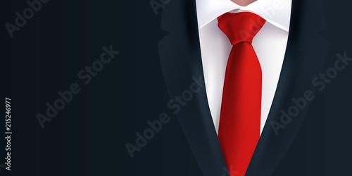 Costume Homme Cravate Rouge Veste Noire Fond Arriere Plan
