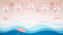 Beach Bed And Water Play Equipment On The Beach - Rubber Boat ,Surfboard , Ball , Beach Umbrellas And Life Rings On Pink Tone - Artwork For Summer Season - Paper Cut Or Craft Style - 3D Illustration