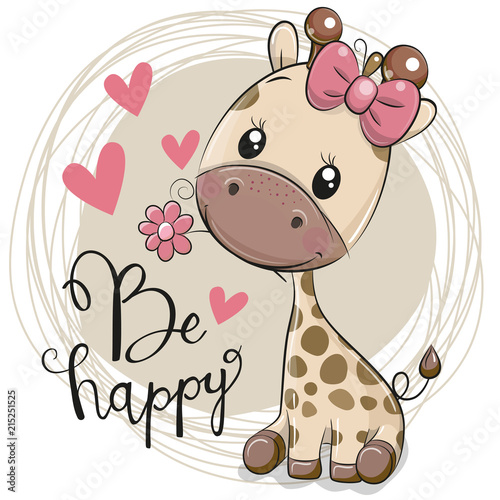 Naklejki żyrafa  cute-cartoon-giraffe-with-flower