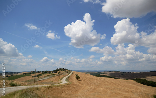 Foto op Aluminium Nachtblauw Tuscany, Italy, a dirt road in the hills of Asciano in a sunny summer day. Some houses on the top of the hill in background