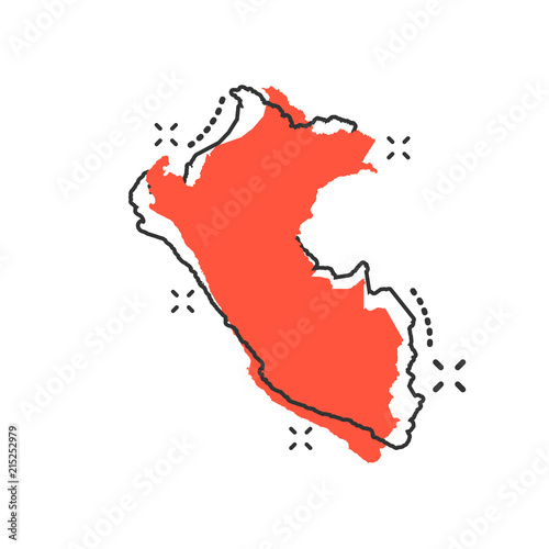 Vector cartoon Peru map icon in comic style. Peru sign illustration pictogram. Cartography map business splash effect concept.