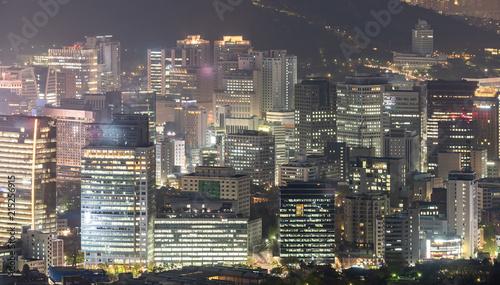 Fotobehang Aziatische Plekken Night view of Seoul Downtown cityscape