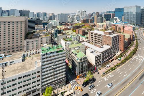 In de dag Aziatische Plekken myeongdong Downtown cityscape in South Korea