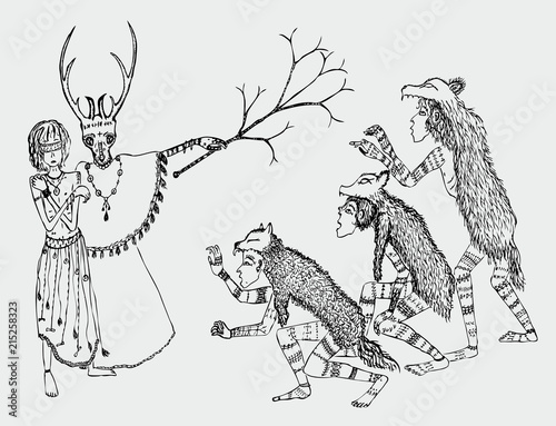 Fototapeta Vector drawing of the sorcerer, victim and werewolves