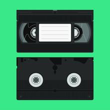 High Detailed VHS Video Tape Cassette Flat Illustration