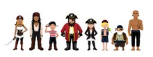 Pirate Characters Set Cartoon Vector Illustration