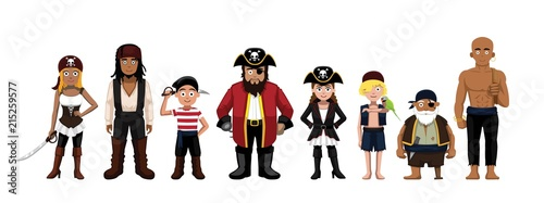Valokuva  Pirate Characters Set Cartoon Vector Illustration