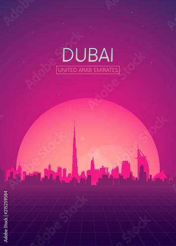 Fototapeta premium Podróże ilustracje wektory plakat, futurystyczny retro panoramę Dubaju
