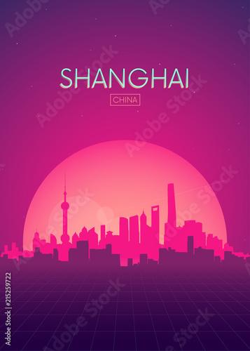 Fototapeta premium Podróże ilustracje wektorów plakat, futurystyczny retro skyline Szanghaju