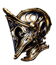 Gold Plated Decorative Knight Helmet,
