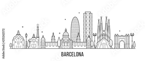 Barcelona skyline Spain city buildings vector Wallpaper Mural