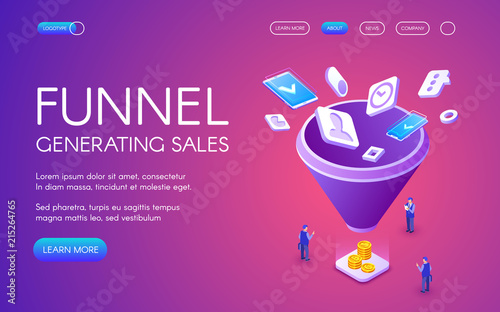 Funnel generation sales vector illustration for digital marketing and e-business technology Fototapet