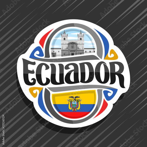 Vector Logo For Ecuador Country Fridge Magnet With Ecuadorian Flag