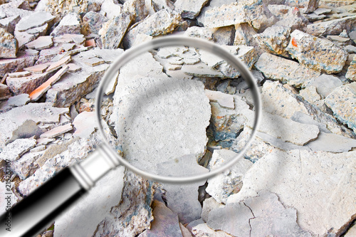 Looking for danger asbestos particles in industrial waste after demolishing a co Canvas Print