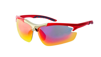 Polarized sport sunglasses isolated on white background. Side view of protective glasses