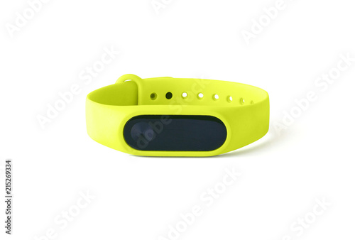 Fitness bracelet or tracker isolated on white background. Front view of smart gadget