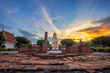 Buddha Statue At Sunset Are Bu...