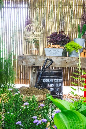 Fototapeta Relaxing area with garden object decoration on shelf in cozy home garden on summer. obraz na płótnie