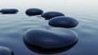 Pebbles in water. Spa relaxation nature zen Buddhism sea ocean sky reflection.