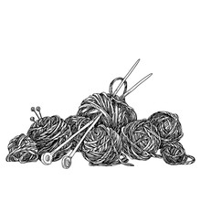 Bunch Of Balls Of Yarn And Knitting Needles. Sketch. Engraving Style. Vector Illustration.