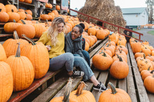Two Best Friends In Their Twenties At A Pumpkin Patch
