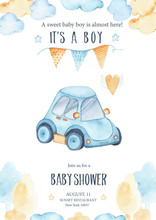 Watercolor Its Baby Boy Shower With Cute Blue Car Auto Garland