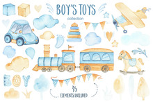 Watercolor Boys Toys Baby Show...