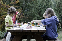 Four Kids Paint Pumpkins On A Picnic Table In The Pacific Northwest