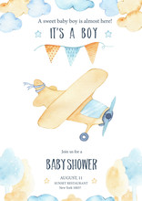 Watercolor Its Baby Boy Shower...