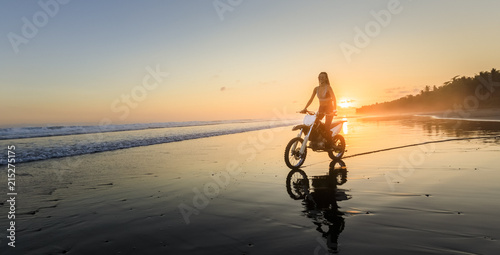 Young woman on BMX bike