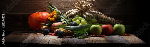 Deurstickers Keuken Autumn nature concept. Fall fruit and vegetables on wood. Thanksgiving dinner.