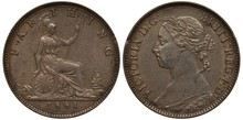 United Kingdom British Coin 1 One Farthing 1881, Seating Britannia With Oval Shield And Trident, Lighthouse To The Left, Sailing Ship At Right, Bust Of Queen Victoria Left,