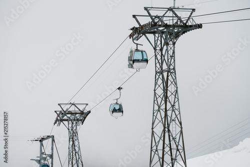 Taking the gondola in Switzerland