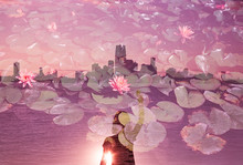 Triple Exposure Of Women Overlooking The NYC Skyline Covered In Flowers