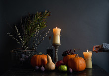 Autumn Themed Side Table Decoration.