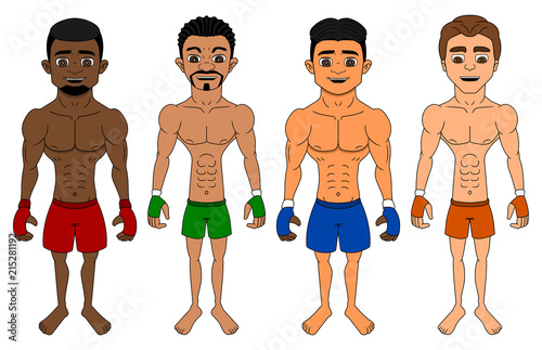 Photo Cartoon of diverse flyweight MMA fighters