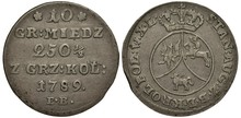 Poland Polish Silver Coin 10 Ten Grosz 1789, Face Value, Purity Info, Date Below, Crowned Circle With Eagle, Horseman And Unicorn? Ruler Stanislaw August,