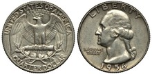 United States Silver Coin Quarter Dollar 1956, Eagle With Extended Wings, Laurel Branch Below, George Washington Head Left, Silver,