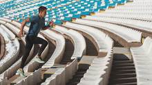 Athlete Running Up The Stairs ...