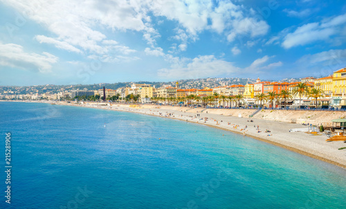Fényképezés  Beach and seafront in Nice. Cote D'Azur, France