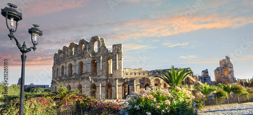 Poster Tunesië El Djem Colosseum amphitheater. Tunisia, North Africa