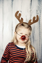 People: Little Girl In A Rudolph Reindeer Christmas Costume