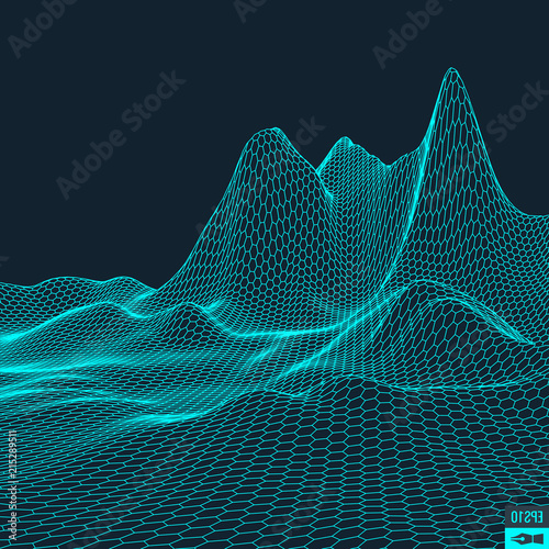 Staande foto Fractal waves Abstract vector landscape background. Cyberspace grid. 3d technology illustration.