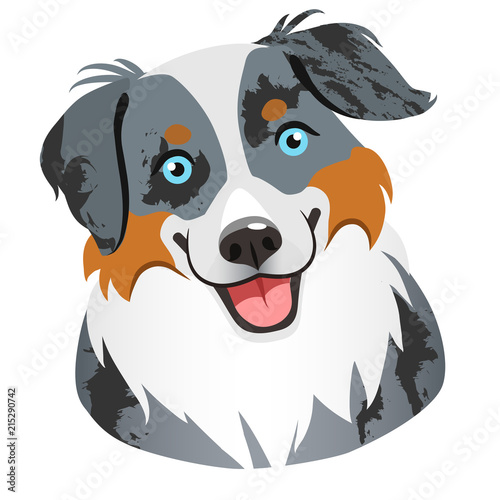Photo Australian shepherd dog face portrait cartoon illustration