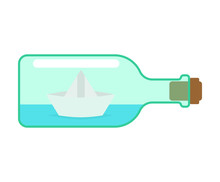 Paper Boat In Bottle. Ship Mad...
