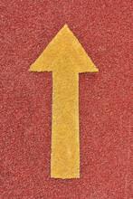 Yellow Arrow On Red Road, Bris...