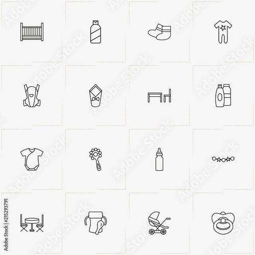 Tremendous Baby Care Line Icon Set With Baby Beanbag Table With Chair Squirreltailoven Fun Painted Chair Ideas Images Squirreltailovenorg
